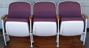 Set Of 5 American Seating Vintage Art Deco Auditorium Seats Cast Iron Legs