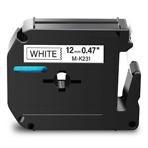 1pk Mk231 M k231 Black On White Label Tape For Brother P touch Pt 45m 12mm 1 2