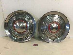 Pair 1952 53 Pontiac Star Chief Chieftan Catalina 15 Wheel Covers Hubcaps
