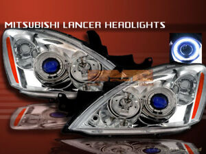 2004 2006 Mitsubishi Lancer Projector Headlights Chrome Halo Ccfl