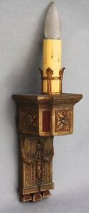 1920s Antique Single Light Sconce W Gold Red Tone Fits Tudor Spanish 9371