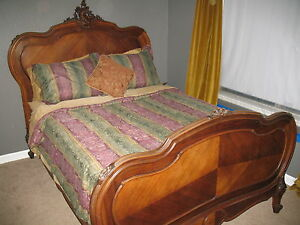 French Bed Louis Xv Full Size With Mattress And Boxspring Solid Walnut