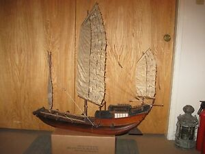 Huge Vintage Folk Art Handmade Chinese River Junk Ship Model 3 Ft Long
