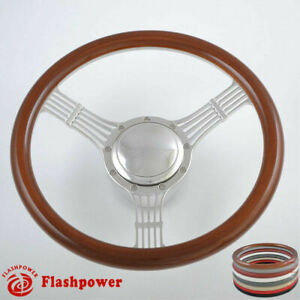 14 Billet Steering Wheel Wood Half Wrap Banjo Ford Gm Corvair Impala Chevy Ii