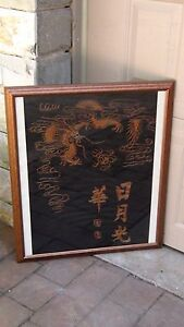 Antique Chinese Gold Stiches Embroidery Of Imperial 5 Clawed Dragon Pearl