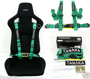 1 Tanaka Universal Green 4 Point Buckle Racing Seat Belt Harness