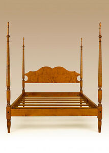 Poster Bed Queen Size Tiger Maple Wood New Bedroom Furniture Sheraton