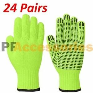 24 Pairs High Visibility Cotton Pvc Dots String Knit Safety Work Glove Size L