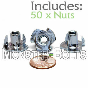 50 1 4 20 X 7 16 3 prong Tee Nuts Straight Barrel Zinc Plated T nut Cr 3 Rohs