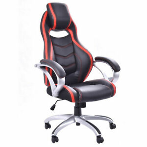 Pu Leather High Back Racing Style Bucket Seat Head Pillow Office Desk Chair New