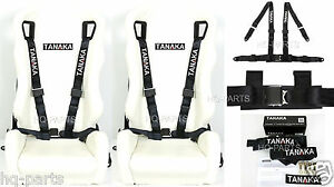 2 X Tanaka Universal Black 4 Point Ez Release Buckle Racing Seat Belt Harness