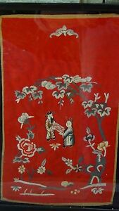 Antique Chinese Gold Multi Color Stitches Embroidery Man Woman In Garden Bat
