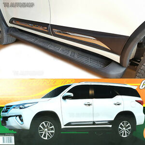 Fitt Chrome Side Doors Cladding Moulding Guards Fits Toyota Fortuner 2016 2018