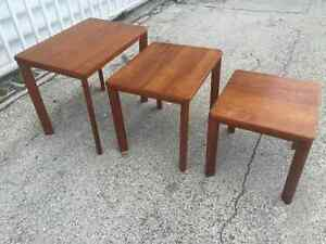 Set Of 3 Mid Century Modern Mobelfabrik Toften Teak Wood Stacking Tables