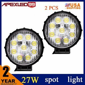 Pair 27w Round Led Spot Work Light Pods Fog Beam Off Road Lights For Utv Atv A9
