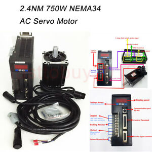 2 4nm 750w Nema34 Ac Servo Motor 220v 3000r min Drive Cnc Machine Kit 3m Cables