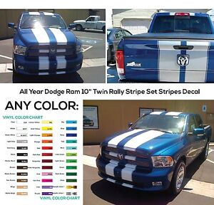 All Year Dodge Ram 10 Twin Rally Stripe Set Stripes Decal Decals