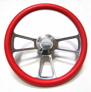1978 1980 Malibu Steering Wheel Billet Aluminum Red Chevy Horn Adapter