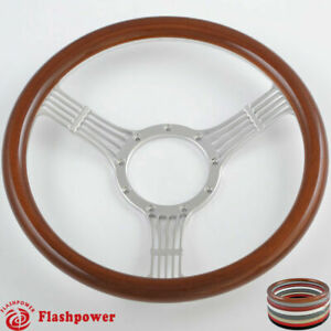 15 5 Flashpower Billet Banjo Steering Wheel Wood Half Wrap Chevrolet Buick Gmc