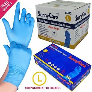 1000 Blue Nitrile Medical Exam Gloves Powder Free non Vinyl Latex Size Large