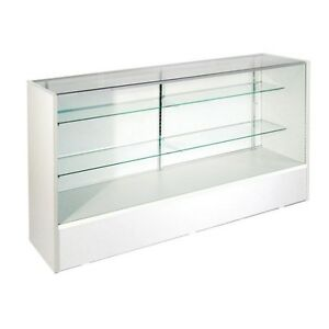 Item sc5w 5 Retail Glass Display Case Full Vision White Showcase Will Ship