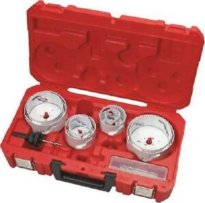 Milwaukee 49 22 4142 12pc Plumber Large Diameter Bi metal Hole Saw Kit Stock