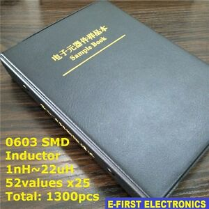 0603 Smd Chip Inductor Sample Book Assorted Kit 1nh 22uh 52valuesx25 1300pcs