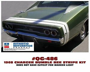 Ge Qg 486 1968 Dodge Charger Bumble Bee Rear Stripe Decal Licensed