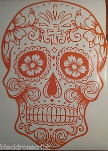 Day Of The Dead Skull sugar Skull decal 21 Inch 12 Colors Super Large