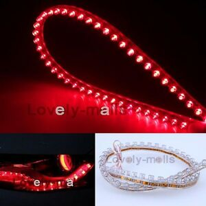 Red 2x 12v For Audi Style Led Strip Ribbon Diode Tube Rope Light For Headlights