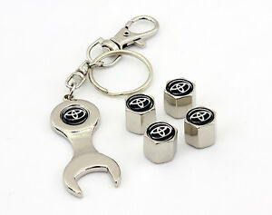 For Toyota Black Logo Tire Wheel Valve Cap Stems And Keychain Racing Gift Decal
