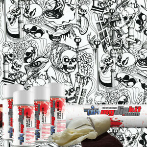 Hydrographic Kit Hydro Dipping Water Transfer Print Hydro Dip Crazy Skulls Ll572