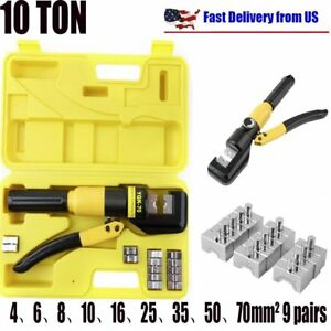 10 ton Hydraulic Crimping Wire Battery Cable Crimper Lug Terminal Tool W Dies