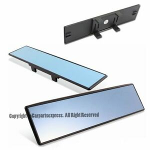 Universal Wide Flat Blue Tinted Interior Direct Clip On Rear View Mirror 300mm