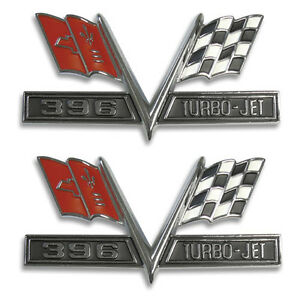 1965 1966 Chevelle Impala El Camino Super Sport 396 Turbo Jet Flag Emblem Set