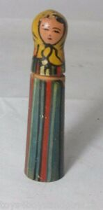 Russian Woman Painted Wood Needle Case Antique C1800 S