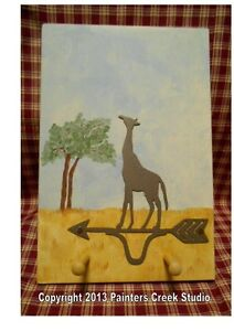 Country Sign Giraffe Weathervane Folk Art Primitive Key Holder