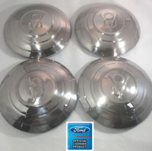 set Of 4 Stainless Hubcaps V8 W 3 Raised Rings For 1932 Ford Car
