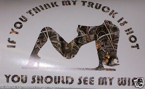 Truck Hot Wife Real Tree M4 Camo Window Decal Fit F150 F250 F350 Ram Gmc Chevy