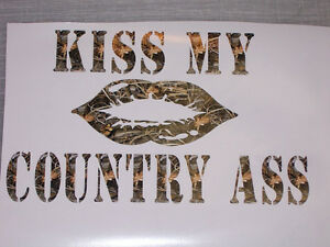 Real Tree M4 Camo Kiss My Country A 2 Lips Decal Decals Sticker Window Girl