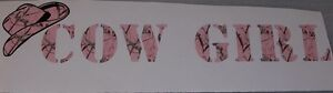 Cow Girl W Hat Real Tree Pink Camo Window Decal Sticker Decals Stickers Country