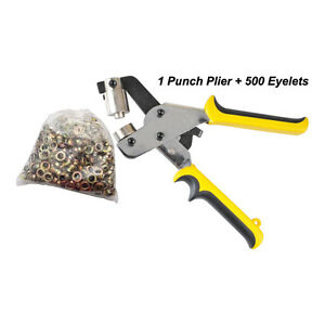 Manual Grommet Tool Eyelet Puncher 4 10 5mm For Eyelet With 500 Eyelets