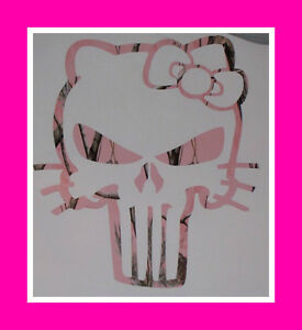 Real Tree Pink Camo Skull Kitty Cat Window Decal Decals Sticker