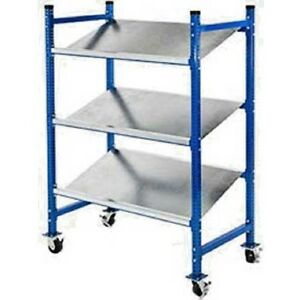 New Unex Flow Cell Mobile Pick Tray Rack 3 Flat Steel Shelves 52 X 28 X 72