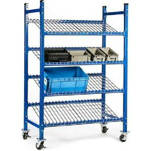 New Unex Flow Cell Mobile Pick Tray Rack 3 Flat Wire Shelves 52 X 28 X 72