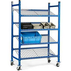 New Unex Flow Cell Mobile Pick Tray Rack 3 Tilted Wire Shelves 52 X 28 X 72