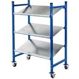 New Unex Flow Cell Mobile Pick Tray Rack 3 Flat Steel Shelves 76 X 28 X 72