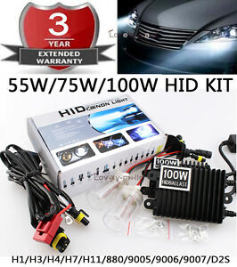 55w 75w 100w Hid Kit Replacement Xenon Light Ballast Wire H3 H4 H7