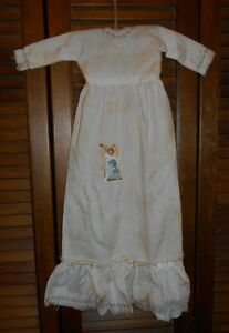 Prim Wall Dress Primitive Decor Embroidered Purple Pansy Nightgown Grungy