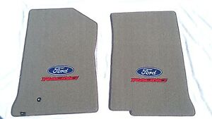Ford F 150 250 2pc Gray Carpet Floor Mats W ford Racing Logo Fits 1999 2001